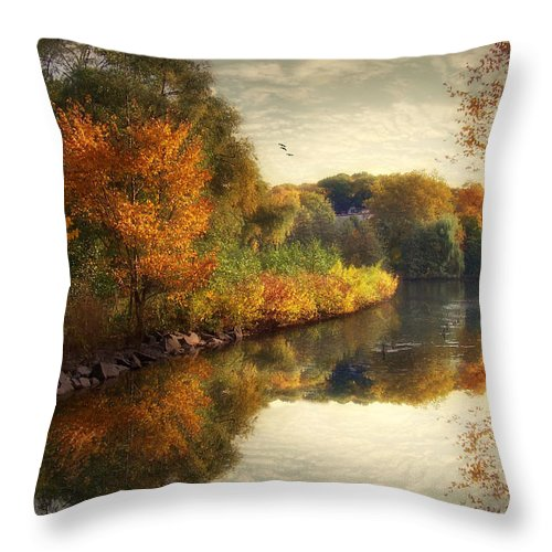 Autumn Throw Pillow featuring the photograph Reflections Of Autumn by Jessica Jenney