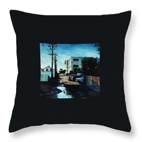 Cityscapes Throw Pillow featuring the painting Reflections Of Blue by Duke Windsor