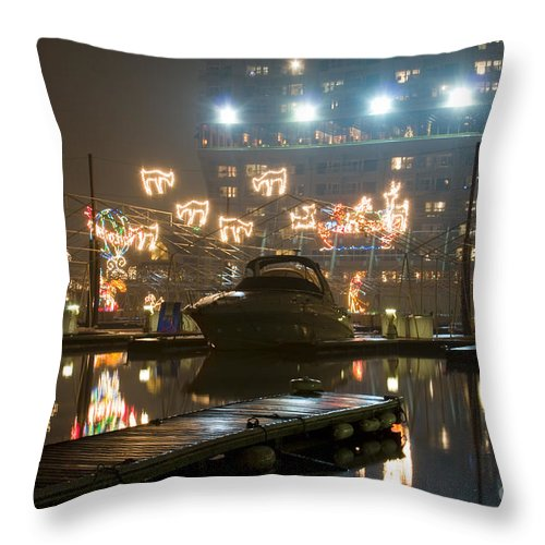 Christmas Lights Throw Pillow featuring the photograph Reflections Of Christmas by Idaho Scenic Images Linda Lantzy