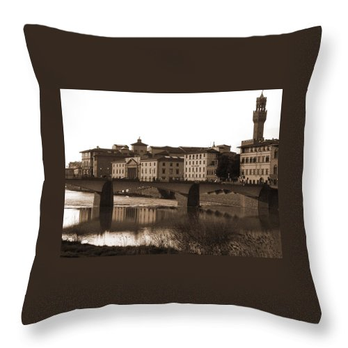 Sepia Throw Pillow featuring the photograph Reflections Of Florence by Donna Corless