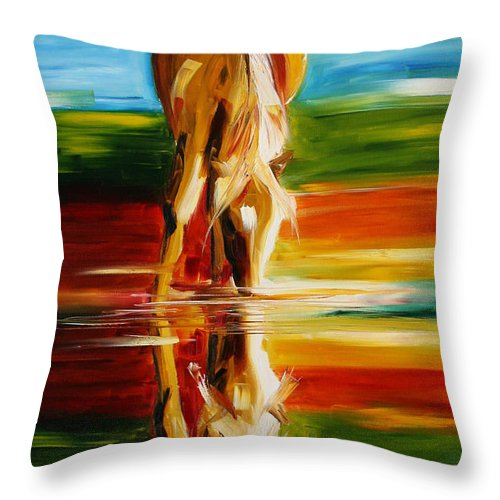 Horse Paintings Throw Pillow featuring the painting Reflections Of Glory by Laurie Pace