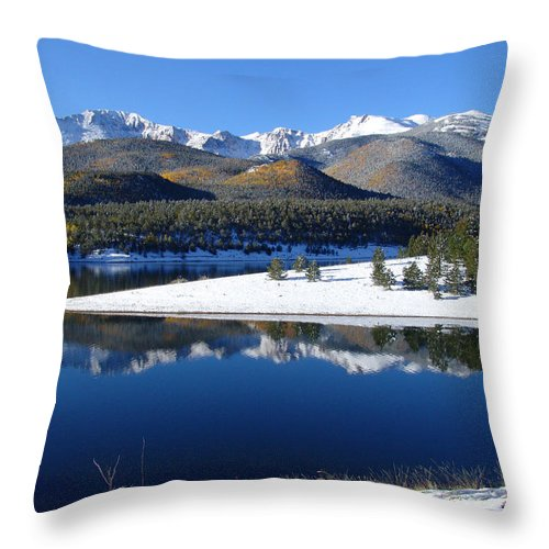 Landscape Throw Pillow featuring the photograph Reflections Of Pikes Peak In Crystal Reservoir by Carol Milisen