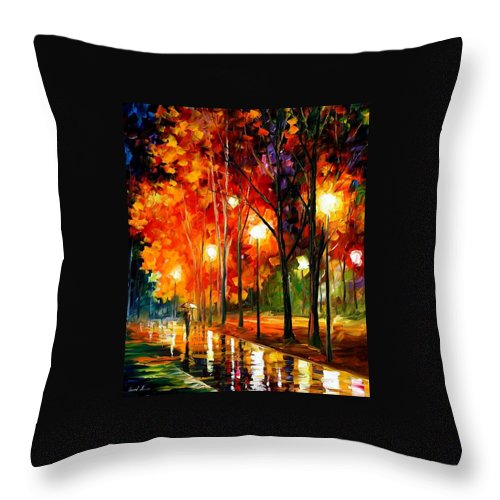 Afremov Throw Pillow featuring the painting Reflections Of The Night by Leonid Afremov