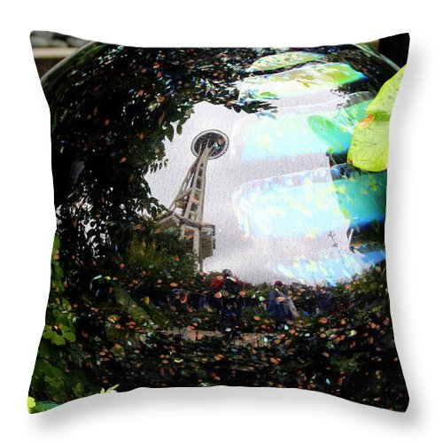Space Needle Glass Throw Pillow featuring the photograph Reflections Of The Space Needle by Lennie Malvone