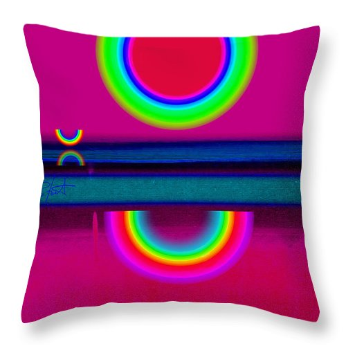 Reflections Throw Pillow featuring the painting Reflections On A Glass Lake by Charles Stuart