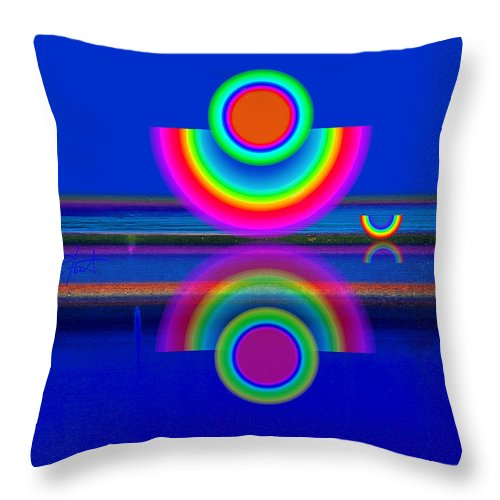Reflections Throw Pillow featuring the painting Reflections On Blue by Charles Stuart