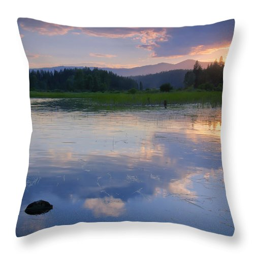 Reflection Throw Pillow featuring the photograph Reflections On Mica Bay by Idaho Scenic Images Linda Lantzy
