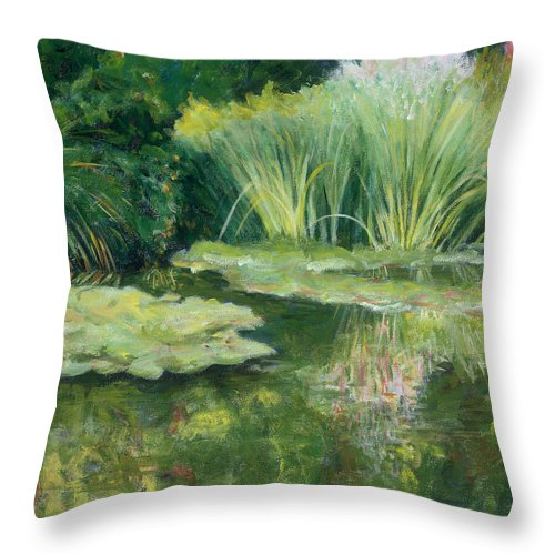 Impressionism Throw Pillow featuring the painting Reflections On Monets Lily Pond by Tara Moorman