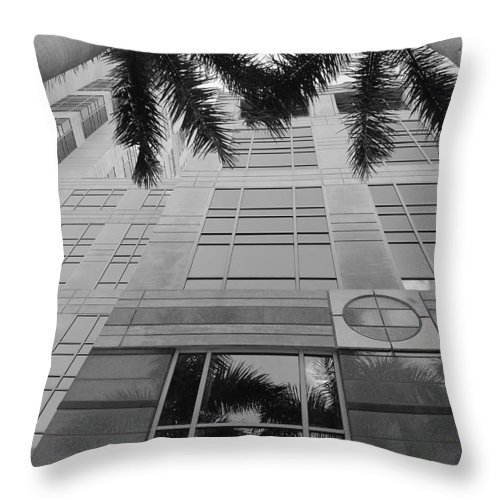 Architecture Throw Pillow featuring the photograph Reflections On The Building by Rob Hans