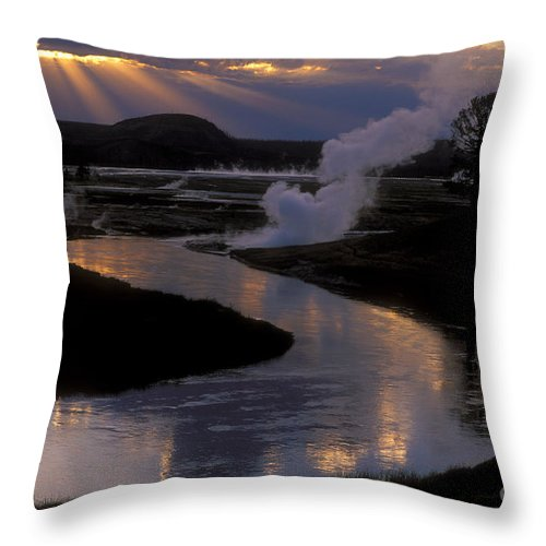 Yellowstone National Park Throw Pillow featuring the photograph Reflections On The Firehole River by Sandra Bronstein