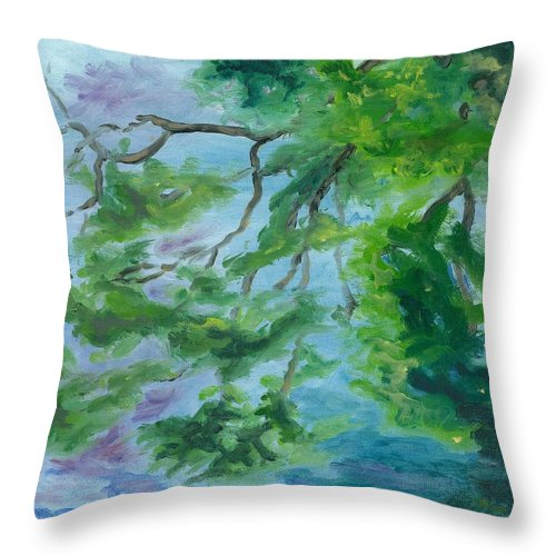 Reflections Throw Pillow featuring the painting Reflections On The Mill Pond by Paula Emery