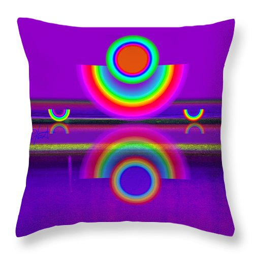 Reflections Throw Pillow featuring the painting Reflections On Violet by Charles Stuart