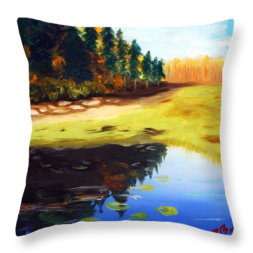 Landscape Throw Pillow featuring the painting Reflections by Phil Burton
