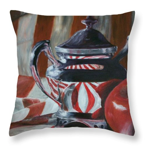 Still Life Throw Pillow featuring the painting Reflections by Stephen King