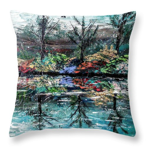 Woods Throw Pillow featuring the painting Reflections by Valerie Josi