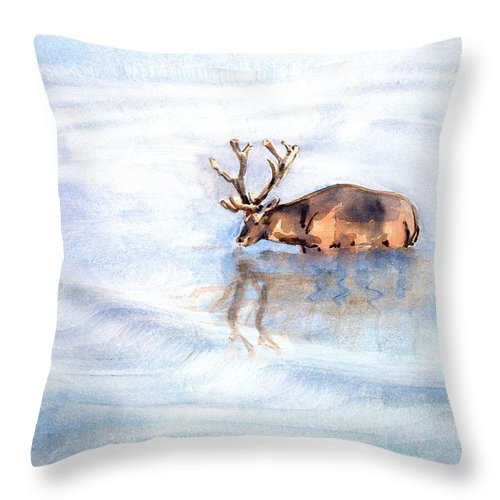 Elk Throw Pillow featuring the painting Reflective by Arline Wagner