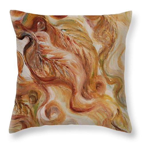 Leaves Throw Pillow featuring the painting Reflective Leaves by Nadine Rippelmeyer