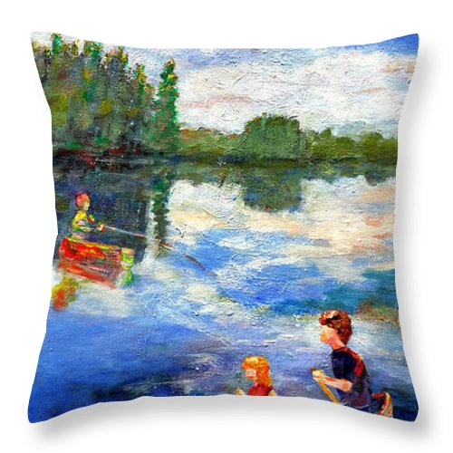 Landscape Throw Pillow featuring the painting Reflective Shapes by Naomi Gerrard