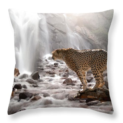Wildlife Throw Pillow featuring the digital art Refreshed by Bill Stephens