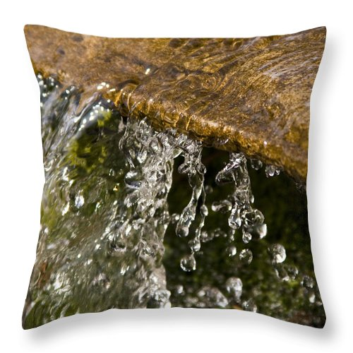 Water Stream Creek Drop Droplet Stone Run Nature Clear Cold Fall Throw Pillow featuring the photograph Refreshment by Andrei Shliakhau
