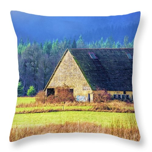 Refuge Throw Pillow featuring the photograph Refuge Barn by Jean OKeeffe Macro Abundance Art