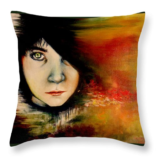 Sunset Throw Pillow featuring the painting Regaining Strenght by Freja Friborg