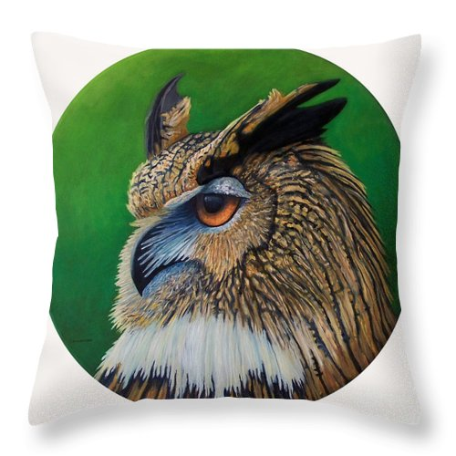 Owl Throw Pillow featuring the painting Regal Gaze by Brian Commerford