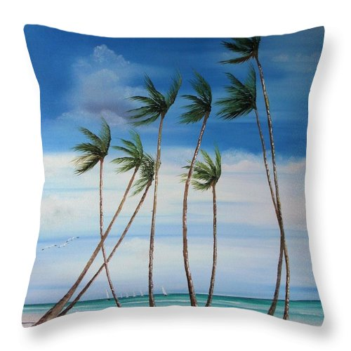 Beaches Throw Pillow featuring the painting Regatta by Maria Mills