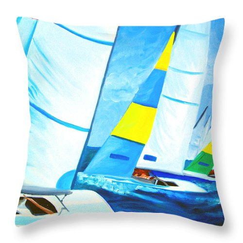 Sailing Throw Pillow featuring the painting Regatta by Michael Lee