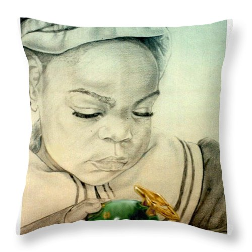 Child Throw Pillow featuring the drawing Regi by Reggie Duffie