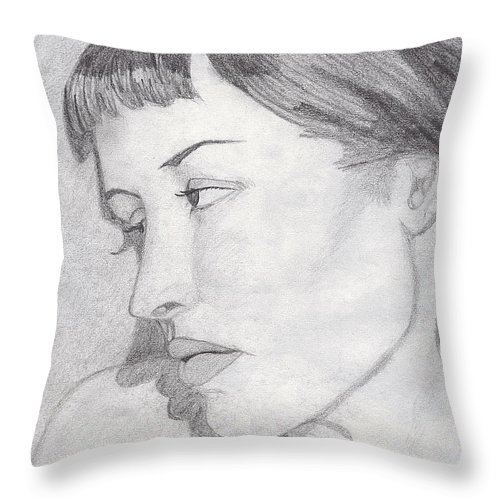 Woman Throw Pillow featuring the drawing Regret by Jean Haynes
