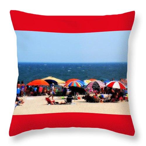 Rehobath Beach Throw Pillow featuring the photograph Rehobath Beach by Patti Whitten