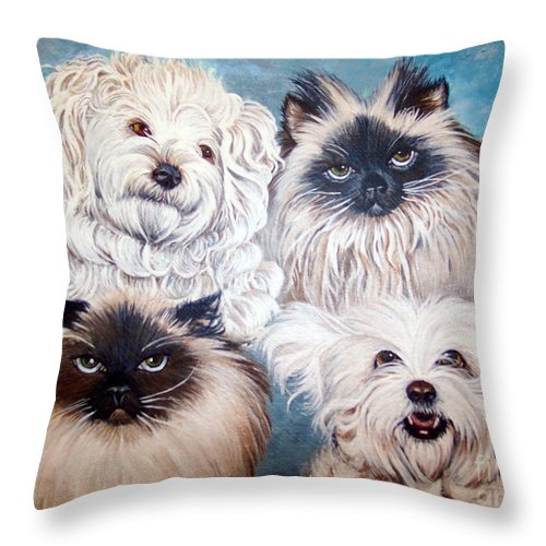 Cats Throw Pillow featuring the painting Reigning Cats N Dogs by Nancy Cupp