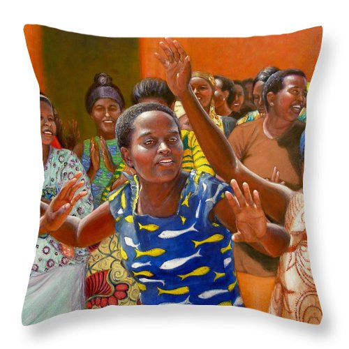 Realism Throw Pillow featuring the painting Rejoice by Donelli DiMaria