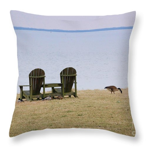 Chairs Throw Pillow featuring the photograph Relax by Debbi Granruth