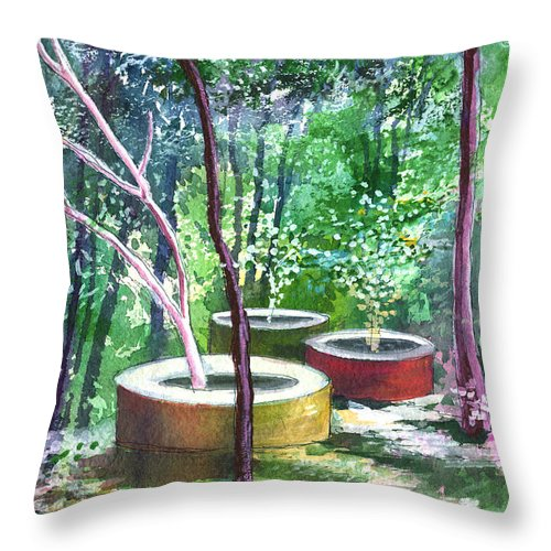 Opaque Landscape Throw Pillow featuring the painting Relax Here by Anil Nene
