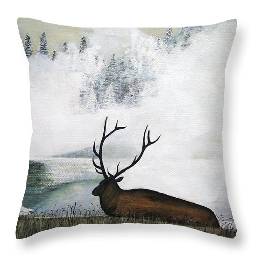Brian Wallace Throw Pillow featuring the painting Relaxing by Brian Wallace