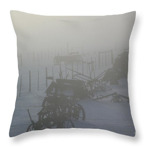 Fog Throw Pillow featuring the photograph Relics Of The Past by Shawnay Hansen