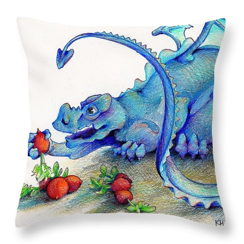 Dragon Throw Pillow featuring the drawing Reluctant Vegetarian by K M Pawelec