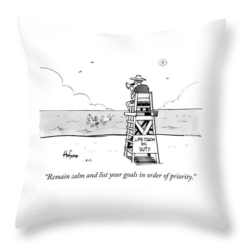 """""""remain Calm And List Your Goals In Order Of Priority."""" Lifeguard Throw Pillow featuring the drawing Remain Calm by Kaamran Hafeez"""