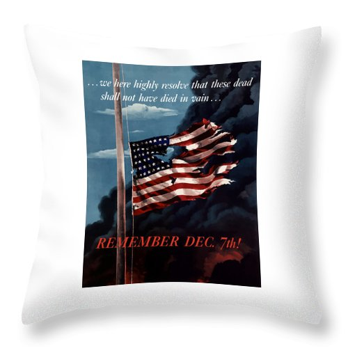 American Flag Throw Pillow featuring the painting Remember December Seventh by War Is Hell Store