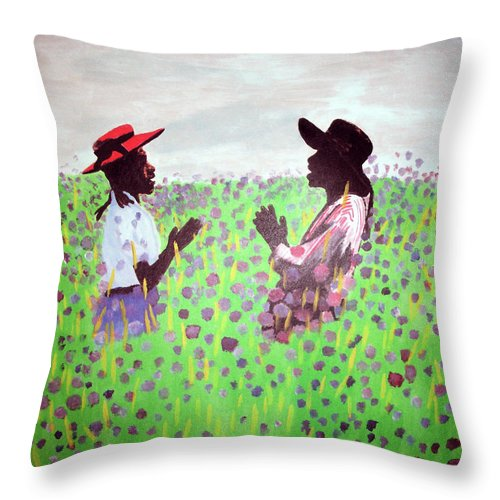 The Color Purple Throw Pillow featuring the painting Remember Way Back When by Lee McCormick