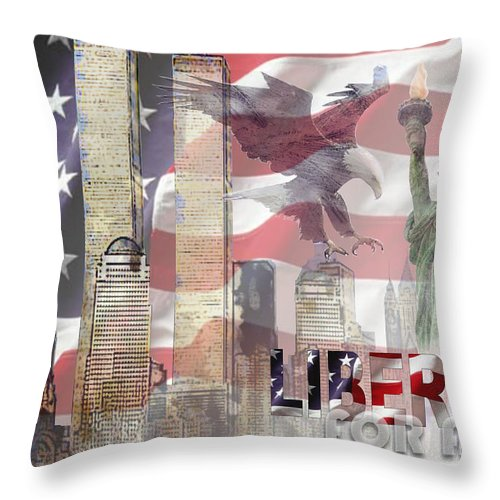 9/11 Throw Pillow featuring the digital art Remembering 9-ll by Arline Wagner