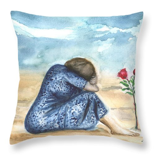 People Throw Pillow featuring the painting Remembering A Loved One by Leonardo Ruggieri