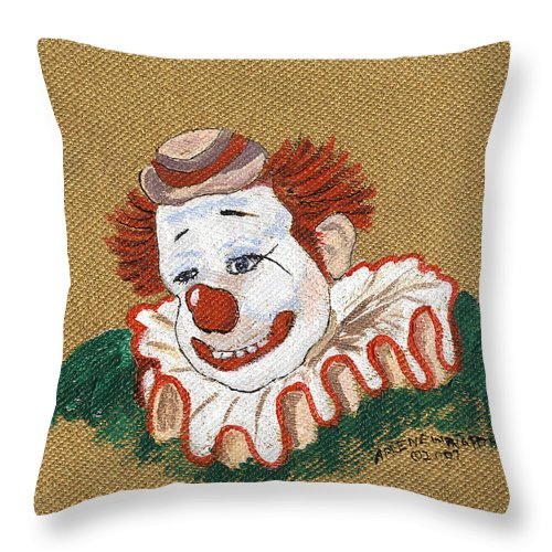 Clowns Throw Pillow featuring the painting Remembering Felix Adler The Clown by Arlene Wright-Correll