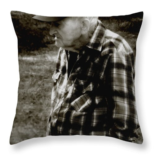 Farmer Throw Pillow featuring the photograph Remembering Hard Times by RC DeWinter