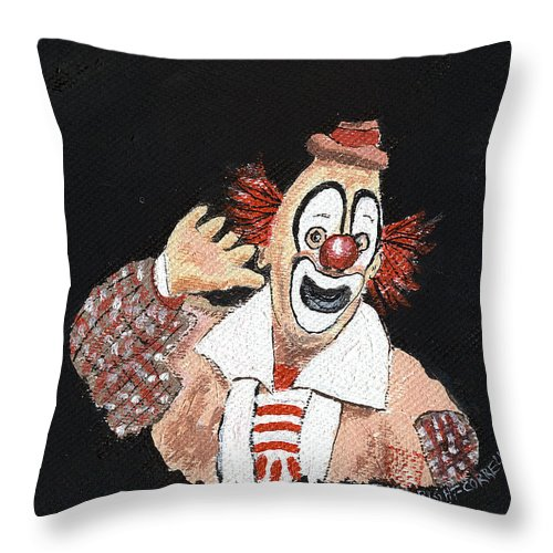 Clowns Throw Pillow featuring the painting Remembering Lou Jacobs by Arlene Wright-Correll