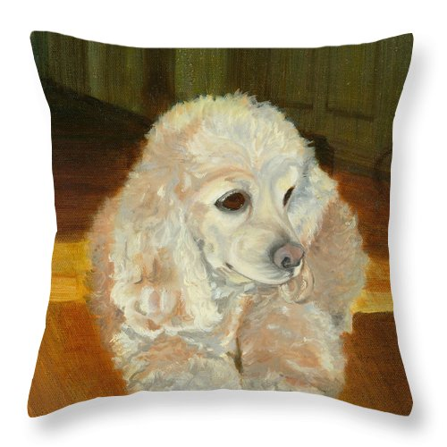 Animal Throw Pillow featuring the painting Remembering Morgan by Paula Emery