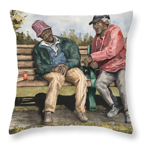 Park Throw Pillow featuring the painting Remembering The Good Times by Sam Sidders