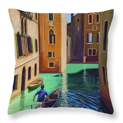 Canal In Venice Throw Pillow featuring the painting Remembering Venice by Hunter Jay